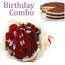 Birthday Package - Rose Bouquet + Tiramisu Cake
