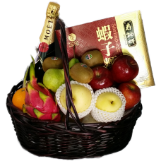 Mid Autumn Festival Fruits Hamper with Champagne and Shrimp-egg Noodle